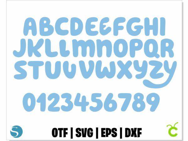 Bluey font 1 scaled Vectorency Blue Font SVG, Blue Font OTF, Blue letters SVG, Blue Alphabet SVG, Blue Svg Cricut, Bluey font svg, Blue svg birthday shirt