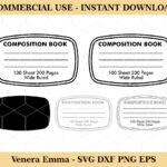 Composition Book Label Outline SVG Layered