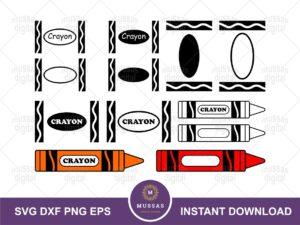 Crayons SVG Cut Files Bundle for Cricut
