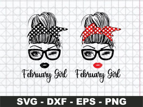 February Girl SVG, Girl With Bandana SVG