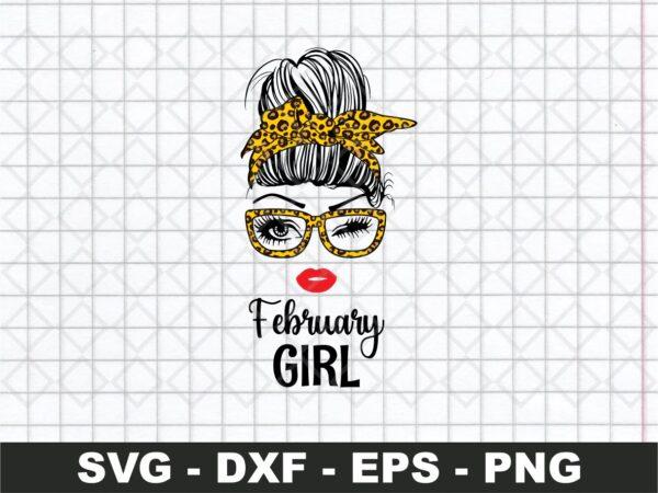 February Girl SVG, Messy Bun Leopard Bandana SVG