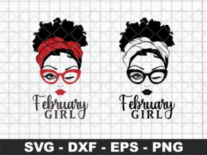 February Girl SVG, Woman With Glasses SVG , Girl With Bandana SVG