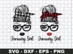 January Girl SVG, Girl With Buffalo Plaid Bandana SVG