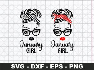 January Girl SVG, Woman With Glasses SVG Cricut File