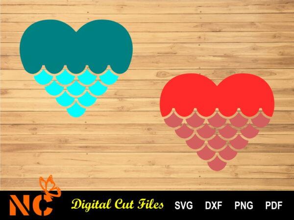 Mermaid Heart Listing Vectorency Mermaid Heart SVG