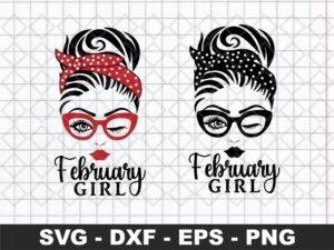 Messy Bun SVG, February Girl SVG
