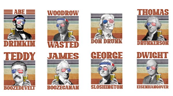PNGALL Vectorency U.S. President American Flag PNG, Presidents drinking, American flag bandana, Retro Vintage Summer 4th of July, USA Independent day PNG