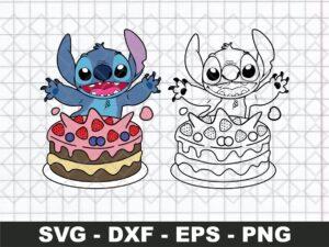 Stitch SVG, Birthday SVG, Cake SVG, Lilo & Stitch SVG
