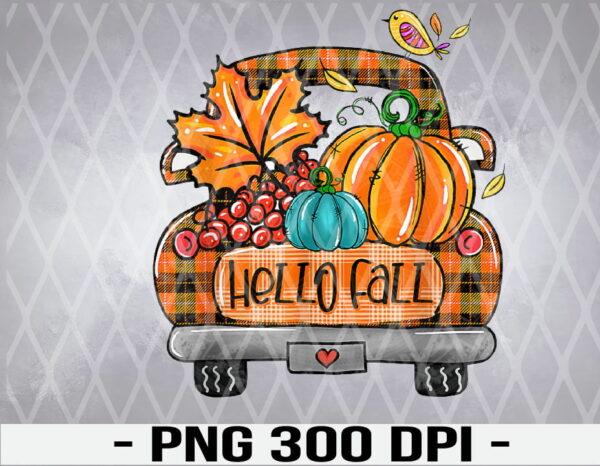 WTM 01 19 Vectorency Hello Fall Orange Plaid Truck Pumpkin Autumn Thanksgiving PNG File Download, Halloween PNG, Halloween PNG Printable, Halloween Digital