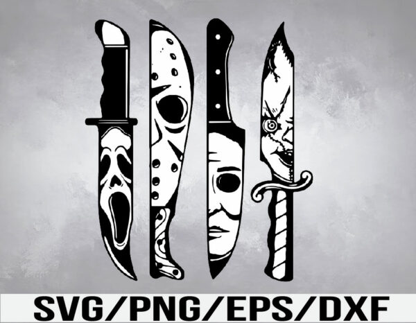 WTM 01 31 Vectorency Horror Movie Characters in Knives SVG, EPS, PNG, DXF, Digital Download