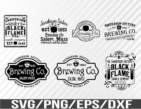 WTM 01 64 Vectorency Sanderson Sisters SVG Bundle, Hocus Pocus SVG, Black Flame Candle SVG, Sanderson Brewing Co, Halloween SVG, SVG, EPS, PNG, DXF, Digital Download