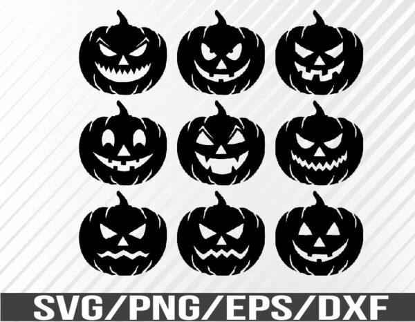WTM 01 67 Vectorency Halloween Shirt Design, Scary Jack O Lantern Pumpkins SVG, EPS, PNG, DXF, Digital Download