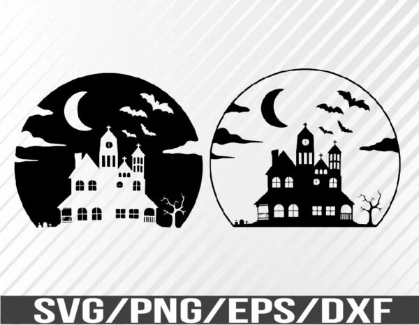 WTM 01 68 Vectorency Halloween Shirt Design, Spooky Home, Scary Vampire Bats, Moon, Tombstones, SVG, EPS, PNG, DXF, Digital Download