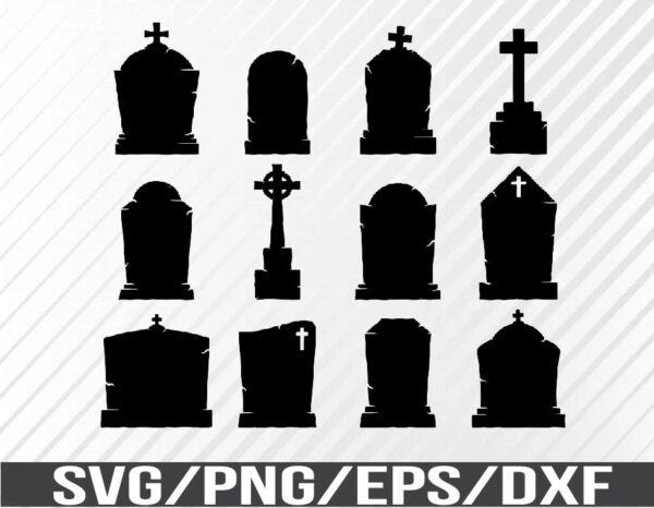WTM 01 69 Vectorency Tombstone Bundle SVG, Cut File, Halloween SVG, EPS, PNG, DXF, Digital Download