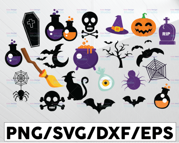 WTMETSY13012021 01 143 Vectorency 21 Halloween Clipart Bundle   Halloween SVG Bundle Cute Halloween Clip Art Svg Halloween Cut File Pack for Silhouette Files for Cricut Bat