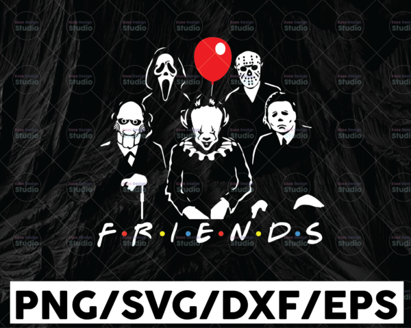 WTMETSY13012021 01 145 Vectorency Friends Horror Movie Creepy Halloween Horror Team SVG PNG EPS Cameo Silhouette Cutting File Cricut Craft Design Digital Download