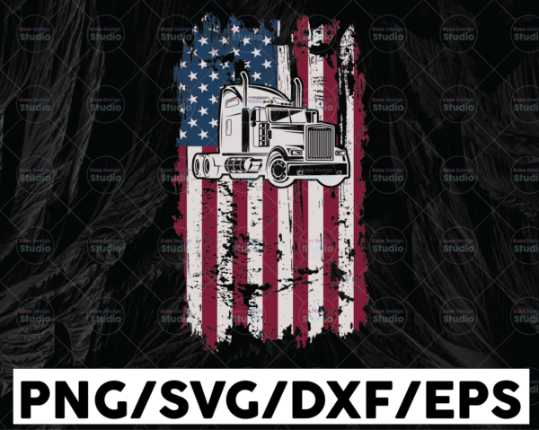 WTMETSY13012021 01 248 Vectorency Trucker Flag PNG, Distressed American Flag, US Semi Truck PNG File, Truck png, Semi Truck png, sublimation, digital download