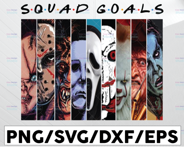 WTMETSY13012021 01 89 Vectorency Squad Goals Friends PNG, Horror Movie, Friends, Happy Halloween, Sublimated Printing/INSTANT DOWNLOAD/Png Printable/Digital Print Design