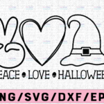 WTMETSY13012021 02 135 Vectorency Peace Love Halloween svg, Peace svg, Love svg, Halloween Clipart, Halloween Cutfile, Pumpkin svg, witch hat svg, Peace Love Clipart