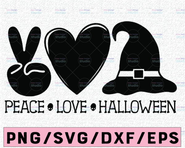 WTMETSY13012021 02 136 Vectorency Peace Love Halloween svg, Peace svg, Love svg, Halloween Clipart, Halloween Cutfile, Pumpkin svg, witch hat svg, Peace Love Clipart