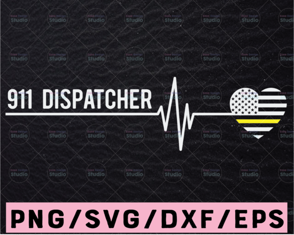 WTMETSY13012021 02 185 Vectorency 911 Dispatcher Heart Beat SVG, America heart flag svg png pdf cutting files for silhouette or cricut