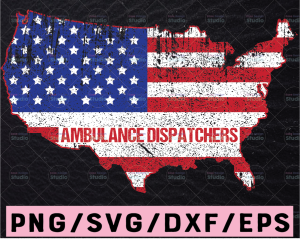 WTMETSY13012021 02 197 Vectorency Ambulance Dispatchers svg, Emergency svg, ambulance map svg, america map, cutting files for Silhouette Cameo, Cricut