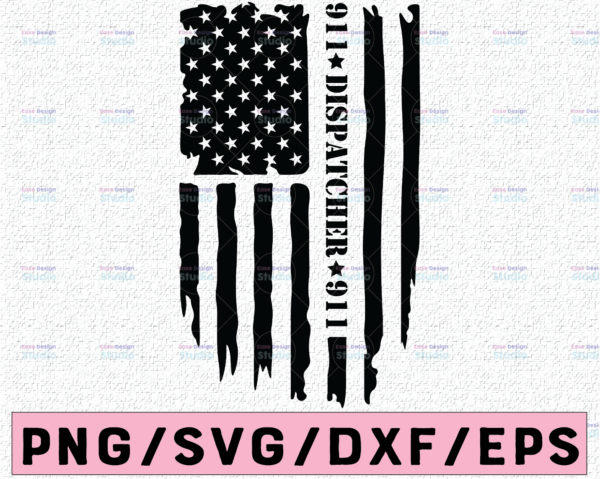WTMETSY13012021 02 210 Vectorency Dispatcher svg, 911 dispatcher svg, Dispatch svg, Distressed flag svg, Dispatcher shirt - Printable, Cricut and Silhouette cut files