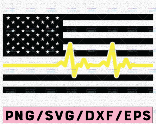 WTMETSY13012021 02 232 Vectorency 911 Dispatcher Thin Gold Line Flag, dispatcher heart beat flag svg pdf png cutting files for silhouette or cricut