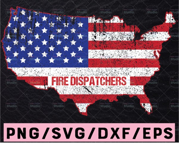 WTMETSY13012021 02 240 Vectorency Dispatch Fire America Map svg, Police Dispatcher Firefighter Flag, First Responder svg, US map svg, Dispatch svg, Dispatcher flag