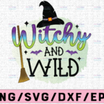 WTMETSY13012021 02 245 Vectorency Witchy and Wild PNG, Halloween Quote png for sublimation,Halloween Witch Hat and Spider Web Digital Download, Sublimation Digital Download