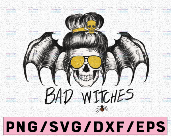 WTMETSY13012021 02 262 Vectorency Bad Witch PNG for Sublimation, Halloween Fall Skull Bun, Witch Digital Download, Halloween PNG, Clipart File