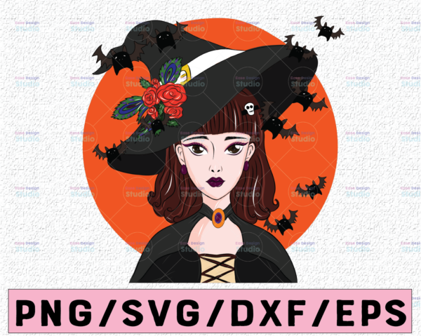 WTMETSY13012021 02 297 Vectorency Witch PNG, Witch Face png, Pretty Witch, Witch Hat png, Happy Halloween png, Funny Halloween Png Files for sublimation
