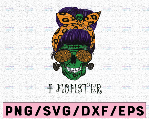 WTMETSY13012021 02 307 Vectorency Mom of Monsters Skull Sublimation PNG Designs, Halloween design, Momster Png, Mother Skull Halloween transfers design png, Mom zombie png