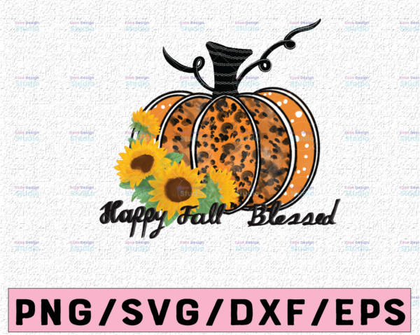 WTMETSY13012021 02 326 Vectorency Happy fall Blessed PNG , Pumpkin png, Sublimation design, Instant download ,Fall shirt print ,Autumn sublimation,Leopard print, Thanksgiving png