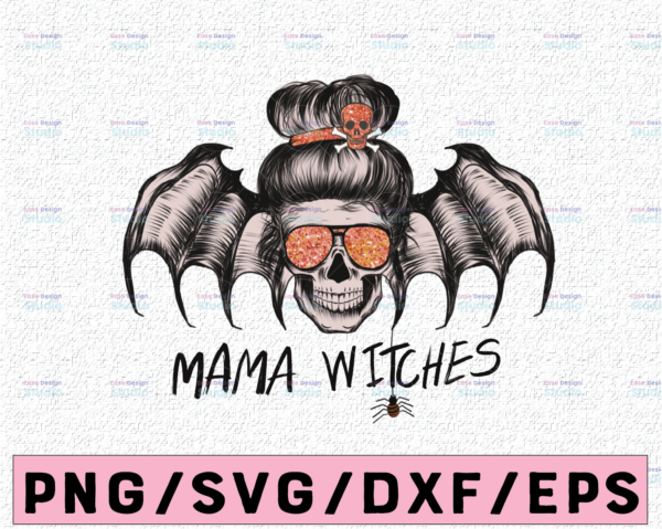 WTMETSY13012021 02 330 Vectorency Mama witches skull PNG for Sublimation, Witchy Woman Halloween Sublimation, Sublimation Digital Download, T-Shirt Design