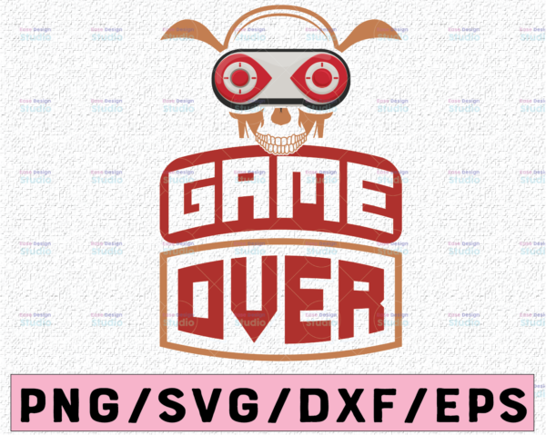 WTMETSY13012021 02 352 Vectorency Game Over SVG | Gaming svg Gamer svg dxf eps png pdf vector cut files for Cricut & Silhouette