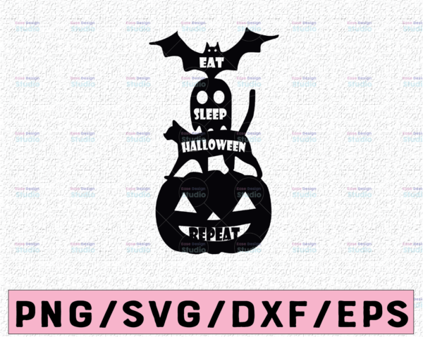WTMETSY13012021 02 9 Vectorency Eat sleep halloween repeat svg, dxf,eps,png, Digital Download Halloween SVG,Halloween Witch svg,Ghost svg Silhouette svg files