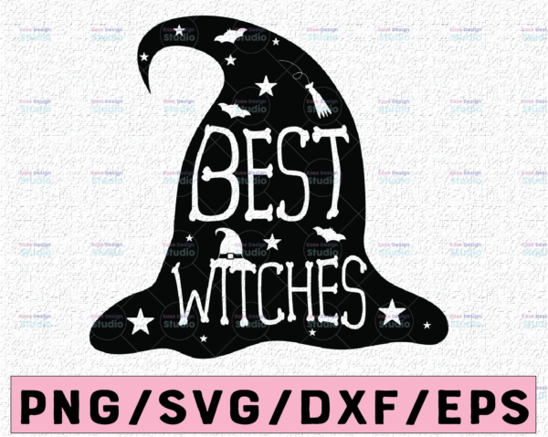 WTMETSY13012021 02 93 Vectorency Best Witches SVG dxf, Witch Hat Halloween svg, Halloween Silhouette and Cricut Cut Design