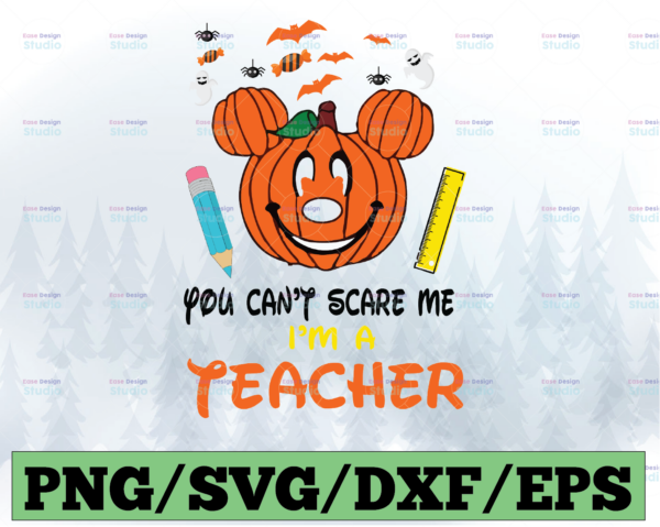 WTMETSY13012021 03 7 Vectorency You Can't Scare me I'm a Teacher Svg, Halloween Svg, Halloween Teacher Svg, Witch Teacher Svg, Cut Files, svg, eps, dxf, png