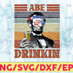 WTMETSY13012021 05 1 Vectorency Abe Drinkin PNG, Presidents drinking, American flag bandana, Retro Vintage Summer 4th of July, USA Independent day PNG,Digital Print Design
