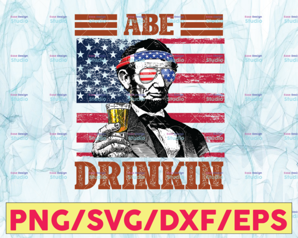 WTMETSY13012021 05 10 Vectorency Abe Drinkin PNG, Presidents drinking, American flag bandana, Retro Vintage Summer 4th of July, USA Independent day PNG,Digital Print