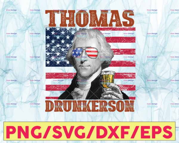 WTMETSY13012021 05 15 Vectorency Thomas Drunkerson PNG, Presidents drinking, American flag bandana, Retro Vintage Summer 4th of July, USA Independent day PNG,Digital Print