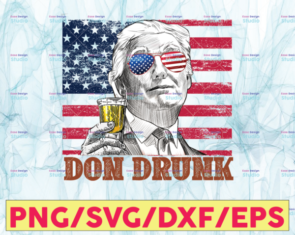 WTMETSY13012021 05 16 Vectorency Don Drunk PNG, Presidents drinking, American flag bandana, Retro Vintage Summer 4th of July, USA Independent day PNG,Digital Print