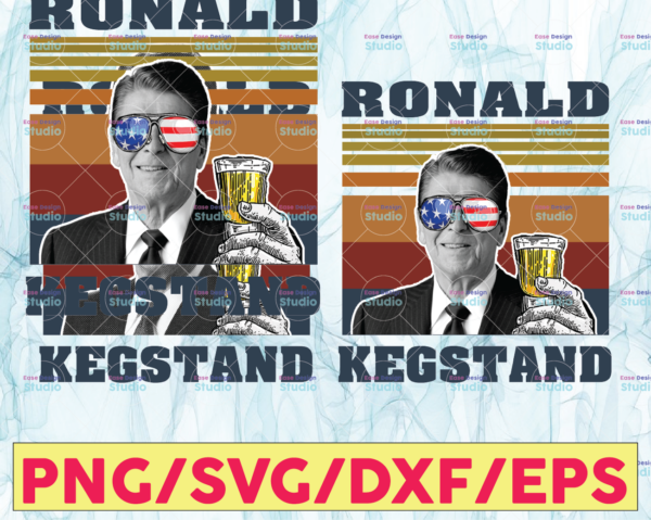 WTMETSY13012021 05 18 Vectorency RONALD KEGSTAND png, Presidents drinking, American flag bandana, Retro Vintage Summer 4th of July, USA Independent day png,Digital Print