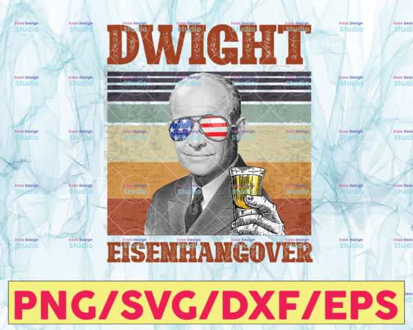 WTMETSY13012021 05 2 Vectorency Dwight Eisenhangover PNG, Presidents drinking, American flag bandana, Retro Vintage Summer 4th of July USA Independent day PNG Digital Print