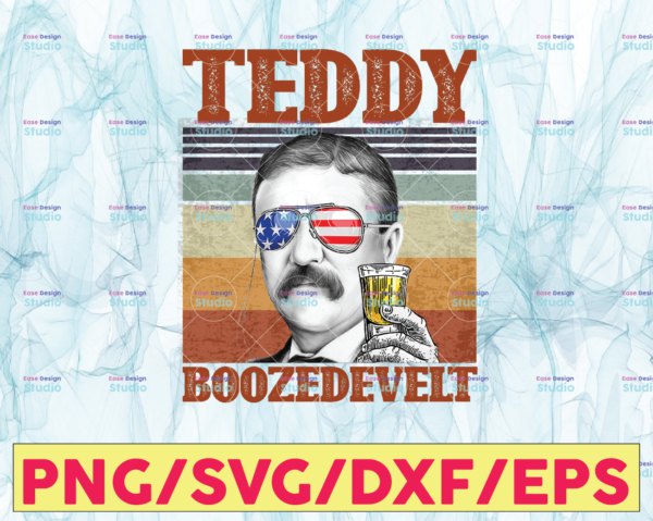 WTMETSY13012021 05 5 Vectorency Teddy Boozedevelt PNG, Presidents drinking, American flag bandana, Retro Vintage Summer 4th of July, USA Independent day PNG,Digital Print