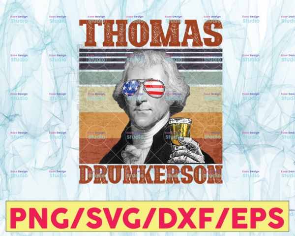 WTMETSY13012021 05 6 Vectorency Thomas Drunkerson PNG, Presidents drinking, American flag bandana, Retro Vintage Summer 4th of July, USA Independent day PNG,Digital Print