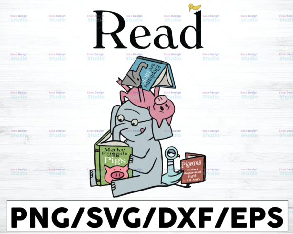 WTMETSY16122020 01 2 Vectorency Read Book Elephant And Piggie SVG, It's A Good Day To Read A Book Svg, Reading Book svg, Cricut File, Book Lover Shirt design