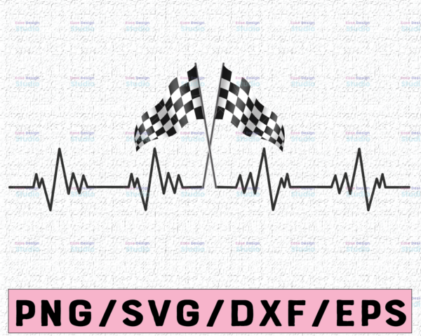 WTMETSY16122020 02 22 Vectorency Racing flag heart beat, Ekg, Love race, svg,png, dxf, eps, cut file, Love svg, Cut File for Silhouette and Cricut, Cycling SVG