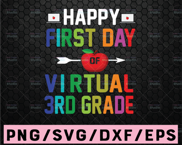 WTMETSY16122020 02 78 Vectorency Happy First Day of Third Grade SVG PNG DXF cut files, Back to School svg , Teacher svg , 3rd Grade Design, Girl, Boy, Cricut, Silhouette